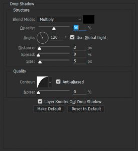 The dialog box with drop-shadow settings.