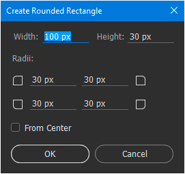 Settings dialog for the rounded rectangle shape tool.